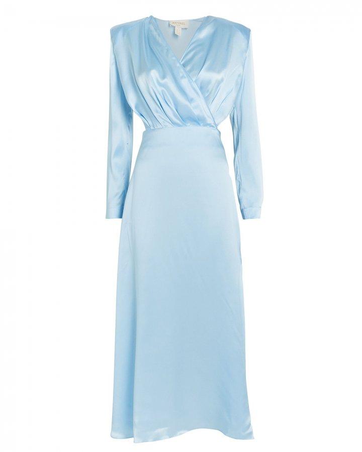 Satin Cut-Out Long Sleeve Dress