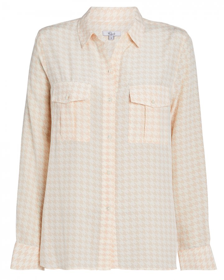 Rhett Houndstooth Silk Oxford Shirt