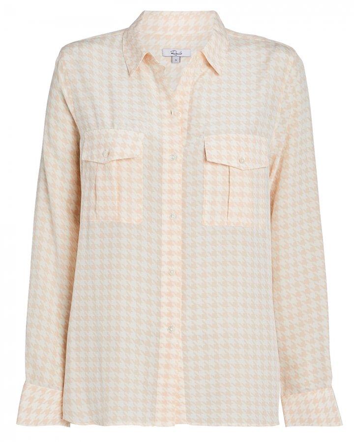 Rhett Houndstooth Silk Oxford Shirt