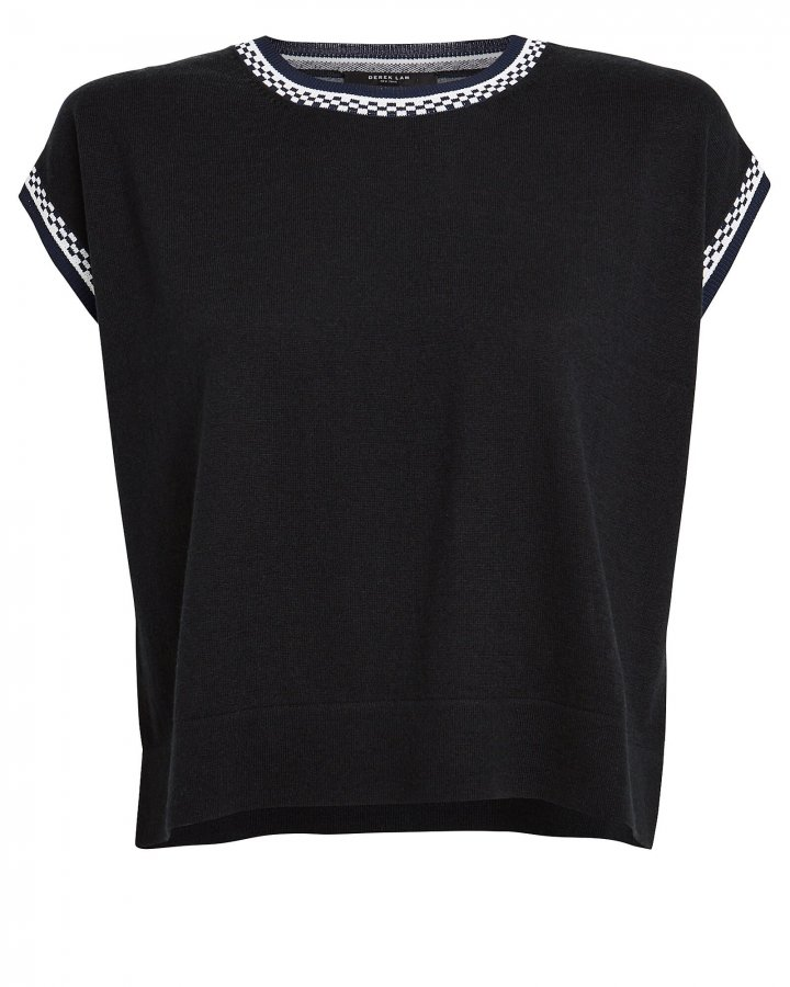 Cropped Printed Silk Back Sweater