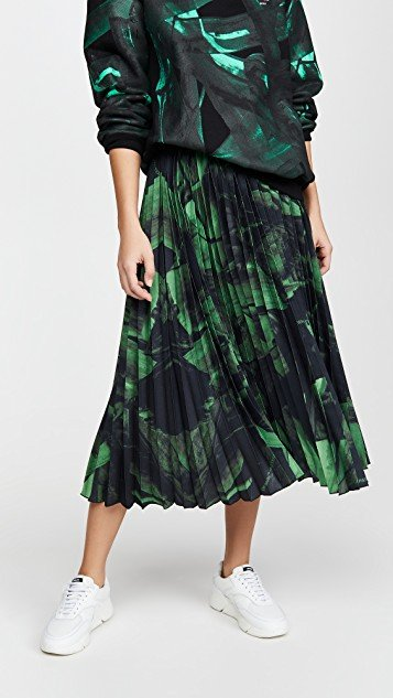 Green Brushstroke Plisse Skirt