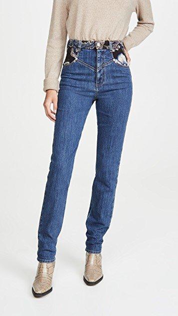 Retro Stone Blue Jacquard Trousers