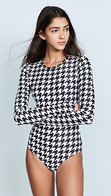 Houndstooth Long Sleeve Swimsuit