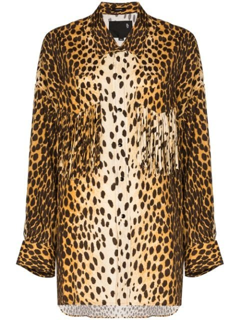 R13 Western Fringed cheetah-print Shirt - Farfetch