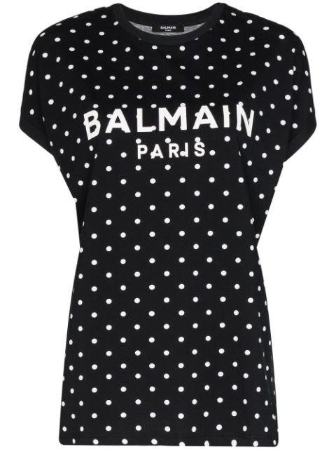 Balmain Polka Dot Logo T-shirt - Farfetch