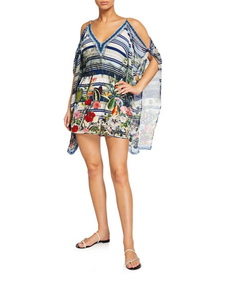 Cold-Shoulder Printed Romper w/ Draped Sleeves
