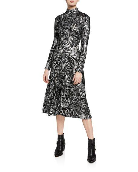 Metallic Leaf-Print Mock-Neck Dress