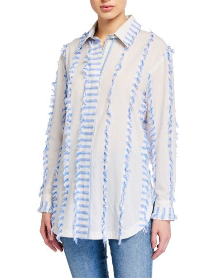 Fringe-Trim Vertical Stripes Boyfriend Shirt