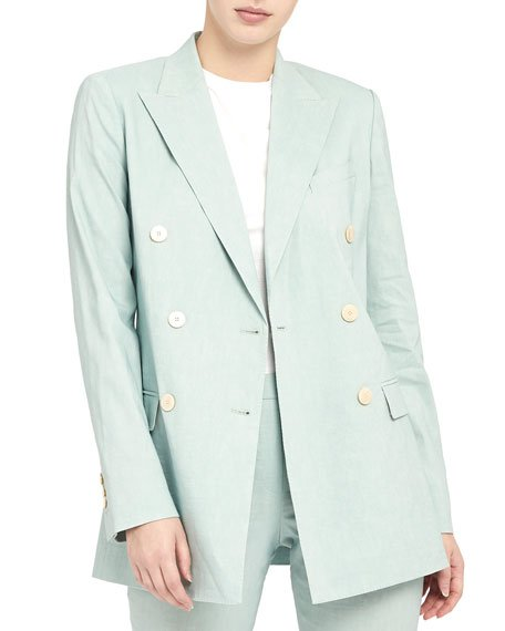 Double Breasted Tailored Linen-Blend Jacket