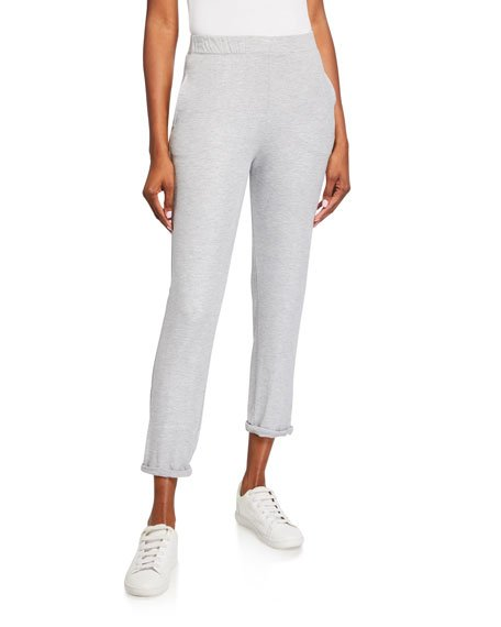 Metallic French-Terry Pull-On Pants