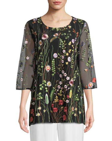 Petite Garden Walk Embroidered Layered Tunic