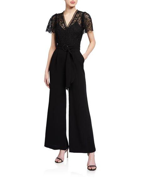 Cerise Ditzy Floral Lace Short-Sleeve Jumpsuit
