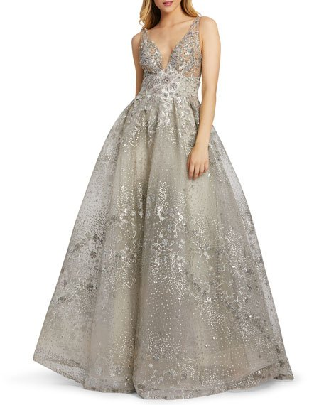 Floral Embroidered Empire Ball Gown