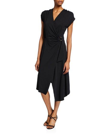 Anjula Draped Short-Sleeve Wrap Dress