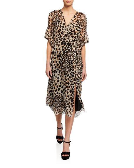 Ava Leopard-Print Short-Sleeve Dress