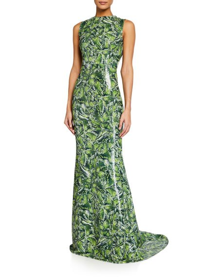 Jewel Neck Sleeveless Column Gown