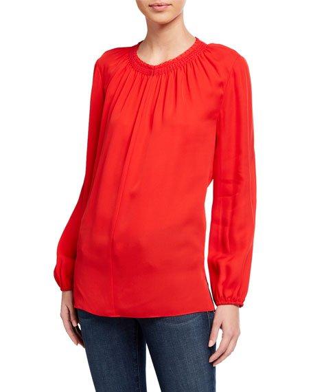 Stephanie Long-Sleeve Silk Blouse