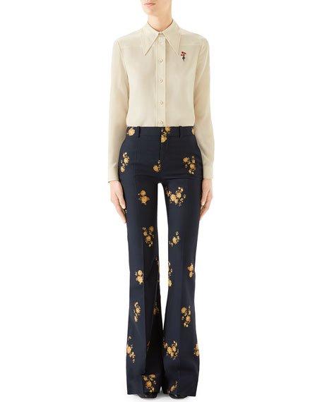 Camelia Bouquet Flare-Leg Pants
