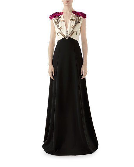 Floral Embroidered Jersey Gown