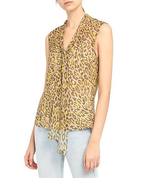 Leopard-Print Sleeveless Tie-Neck Silk Top