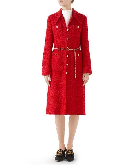 Classic Lightweight Tweed Belted Coat