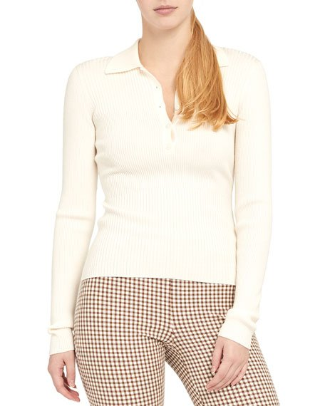 Long-Sleeve Ribbed Polo Shirt