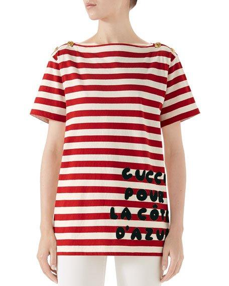 Cote d\'Azur Striped Patch T-Shirt