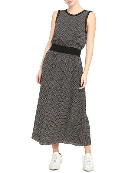 Rib Trim Sleeveless Printed Silk Dress