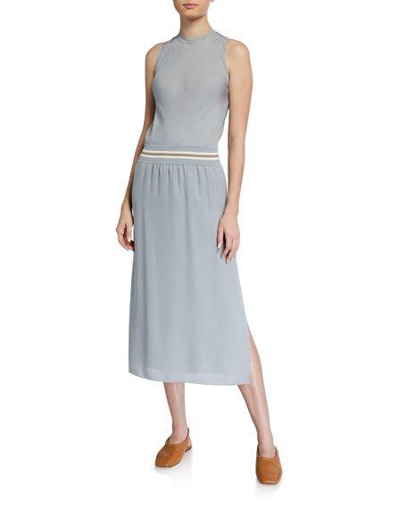 Lewie Silk Dress with Striped Waistband