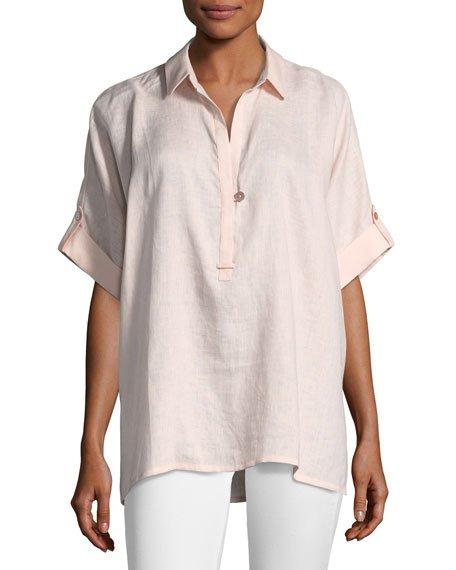 Plus Size Oversized Short-Sleeve Linen Tunic