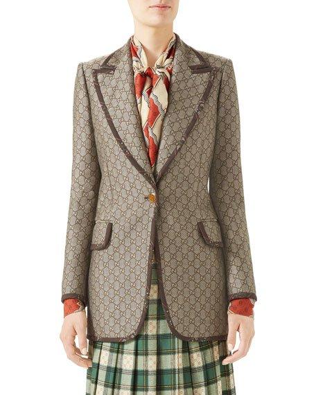Jacquard Wool-Canvas Jacket