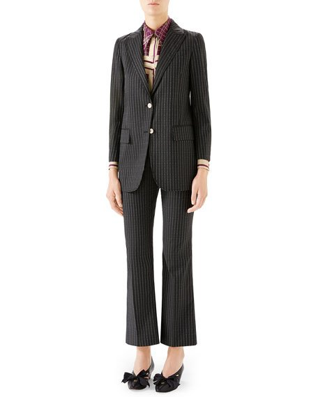 Pinstriped Wool Blazer Jacket