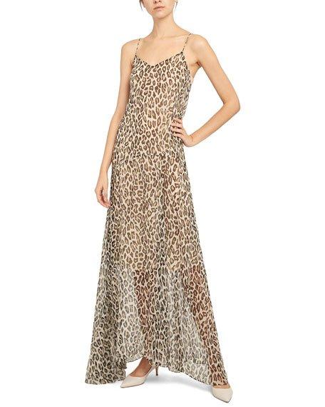 Leopard Asymmetric Silk Maxi Cami Dress