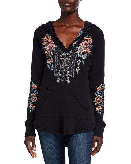 Embroidered Cotton Thermal Sweatshirt, Black
