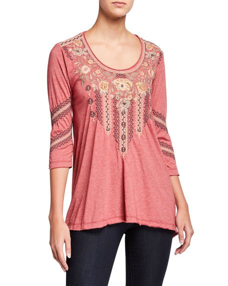 Plus Size Marushka Embroidered 3/4-Sleeve Trapeze Tee