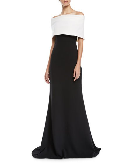 Off-the-Shoulder Monotone Trumpet Evening Gown