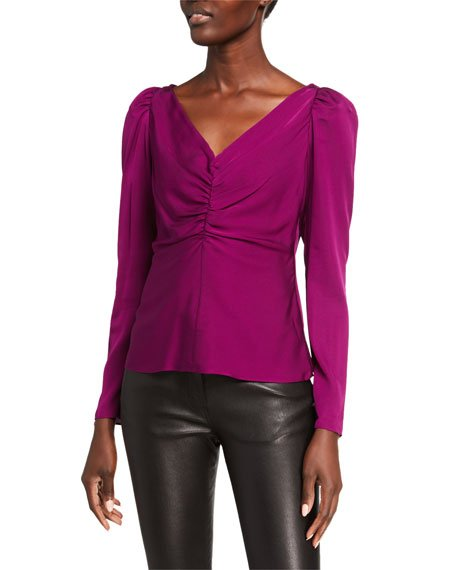 V-Neck Ruched Long-Sleeve Stretch Silk Blouse