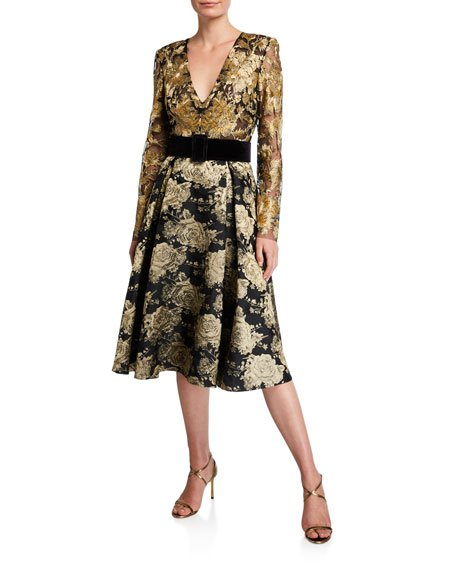 V-Neck Long-Sleeve Floral & Lace Belted Cocktail Dress