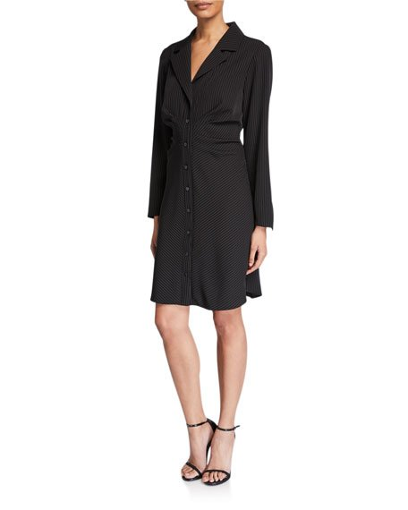 Cleo Gathered Pinstripe Shirtdress