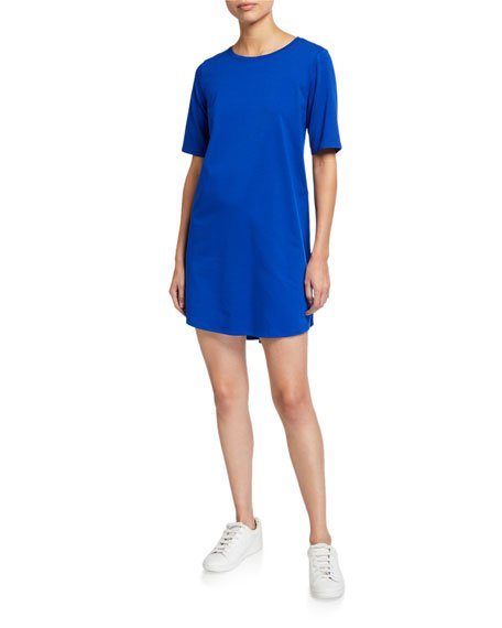 Stretch Organic Cotton Jersey Elbow-Sleeve Dress