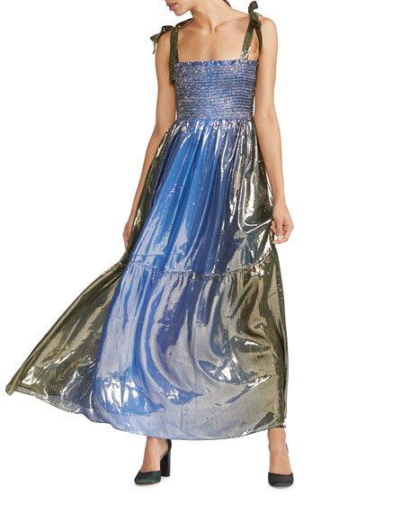 Jade Smocked Silk Lame Long Dress