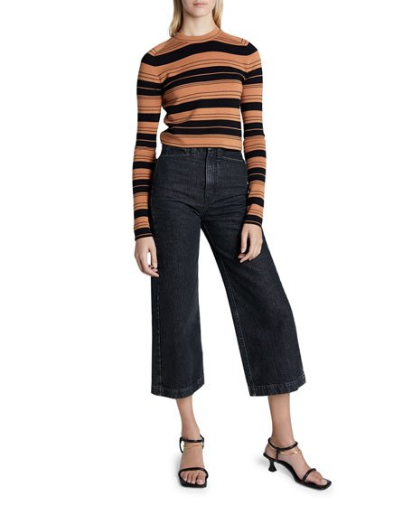 Compact Striped Cropped Crewneck Pullover