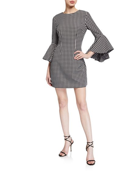 Mallory Houndstooth Flare-Sleeve Dress