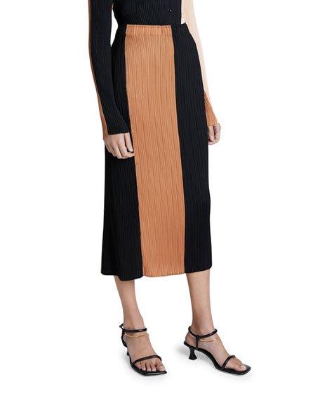 Plisse Colorblock Slip Skirt
