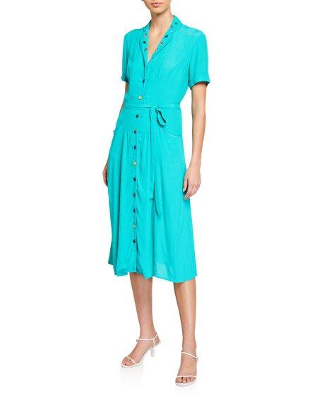Maria Silk Button-Front Pajama Dress