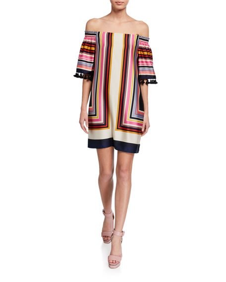 Amaris 2 Striped Off-the-Shoulder Tassel-Trim Dress