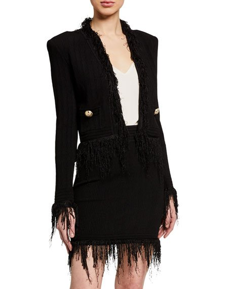 Fringed-Trim Crop Jacket