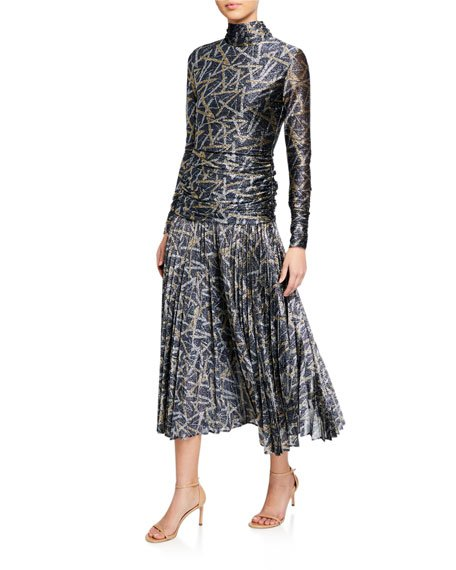 Metallic Pattern Pleated Cocktail Dress