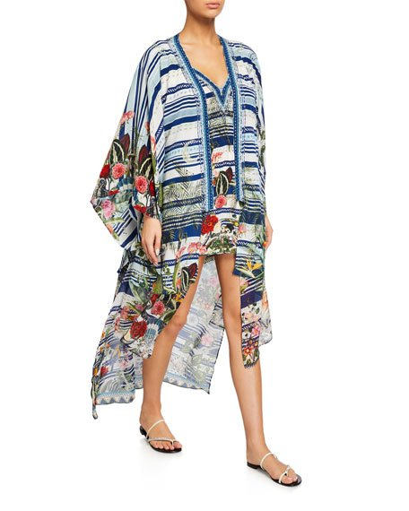 Layered Silk Kimono with Long Underlay