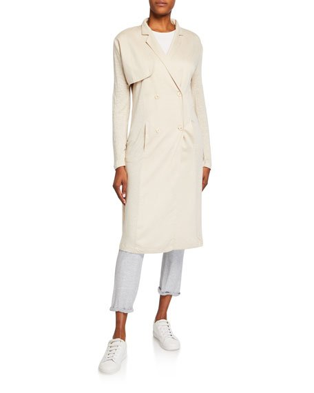 Linen Duster Double-Breasted Coat